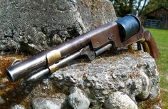1847 Colt Walker Revolver w/loading lever keeper and aftermarket front sight. Alternate view.