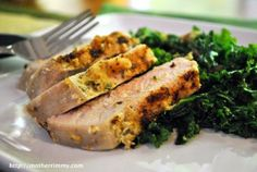 Rosemary Crusted Pork Chops with Sautéed Kale - Mother Rimmy's Cooking Light Done Right