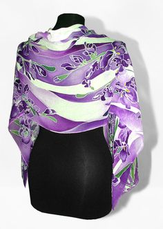 Silk scarf Violet Iris hand painted long silk scarves - violet lila flowers