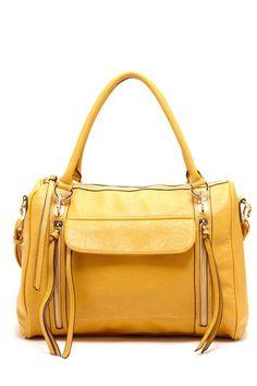 Yellow handbag with tassels.