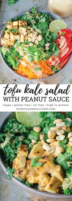 You'll love this this bright and beautiful kale salad that's high in protein, packed with nutrition and completely plant-based. The coconut peanut dressing pairs perfectly with crisp tofu and fresh veggies like red pepper, lightly steamed broccoli and grated carrot. #vegan #glutenfree #oilfree