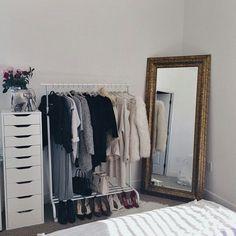 IKEA mirror + drawers w/ open wardrobe