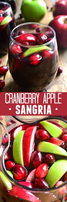 This Cranberry Apple Sangria is a deliciously sweet taste of fall! Loaded with fresh, seasonal fruit and packed with flavor, it's sure to become a new fall favorite! Perfect for the holidays, too! Might try with champagne substitute. Fall Recipes, Holiday Recipes, Holiday Ideas, Yummy Drinks, Yummy Food, Mocktail Drinks, Sangria Drink, Cocktails, Holiday Drinks
