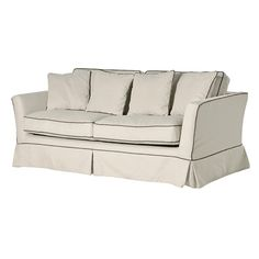 Piped Edged Large Sofa Bed - Buy from the French Furniture Specialist: Nicky Cornell, Shabby Chic Furniture Specialists Shabby Chic Bedroom Chair, Shabby Chic Bedroom Furniture, White Painted Furniture, French Furniture, Large Sofa Bed, Dressing Table With Chair, Provincial Furniture, French Sofa, Traditional Sofa