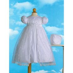 597bfbcf7753 Haddad Brothers - Christening Baptism Newborn Baby Girl Special Occasion  Girls Long Embroidered Organza Split Front Skirt Over Bridal Satin Dress w/  Sequin ...