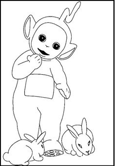 Teletubbies Laa Laa And Rabbits coloring picture for kids