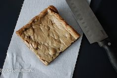Thick and Chewy Chocolate Chip Cookie Bars - I have made these a couple of times using only 1 stick of butter and 2 whole eggs, I did not use foil, just sprayed the pan with cooking spray, they turned out great! You can use any chips you want, I used semi-sweet chocolate