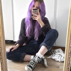 Long Straight Wig of Human Hair with Baby Hair Brazilian Purple Ombre Lace Front Wig Pastel Purple Hair, Light Purple Hair, Purple Wig, Lilac Hair, Hair Color Purple, Purple Ombre, Blue Hair, Lace Front, Mein Style