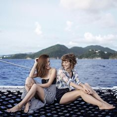 Girl talk: Jenny and Lisa both wearing Heidi Klein