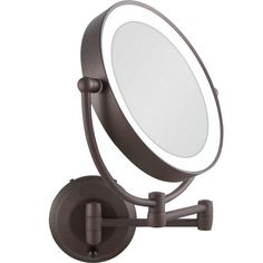 Wall Mount Lighted Makeup Mirror Bronze