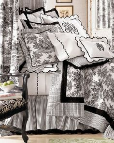 Amazing use of Black and White; pattern and  texture French Country Bedrooms, French Country Decorating, French Decor, French Country Bedding, Country French, Beddinge, White Houses, Bed Spreads, Black White Bedding
