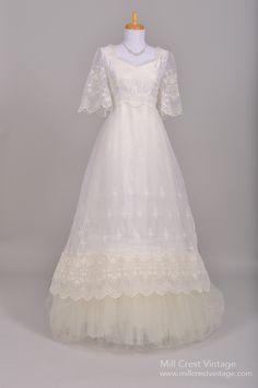 1970 Bell Sleeve Chiffon Vintage Wedding Gown : Mill Crest Vintage