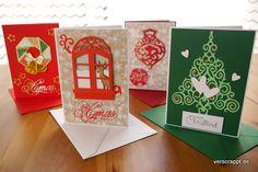 Weihnachten-Weihnachtskarten-Karten-christmas-cards-grün-rot-traditionell-xmas-4er-Set-mit-Umschlag