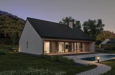 Projekt domu Murator C365j Przejrzysty - wariant X 104,5 m2 - koszt budowy - EXTRADOM Small Modern House Plans, My House Plans, Facade House, Home Fashion, Bungalow, Gazebo, Sweet Home, Cottage, Outdoor Structures