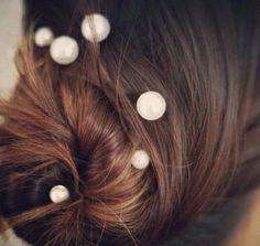 Pearl pins in hair remind me of floating orbs.  Cute!