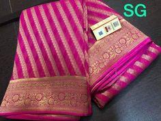 FashionVibes Saree SG Presents Beautiful Georgette Banarasi Saree Silk Saree Kanchipuram, Chanderi Silk Saree, Indian Silk Sarees, Georgette Sarees, Chiffon Saree Party Wear, Bridal Silk Saree, Lace Saree, Sari, Saree Wedding