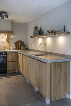 Kitchen Desing, New Homes, Furniture, House, Kitchen, Interior, Concrete Counter, Cabinet, Home Decor