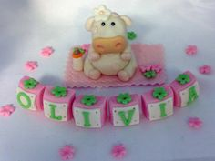 EDIBLE Fondant CAKE TOPPER Pink Cow and letter by EdibleSugarArt, $35.00