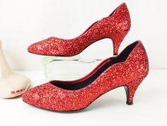 Vintage Ruby Red Heels  Glitter Heels  Red Pumps by VintageGriffin, $35.00