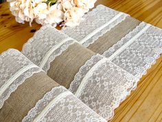 A Burlap Table Runner Wedding table runner & lace Vintage Wedding Table Décor with ivory lace barn wedding linens Handmade in the USA