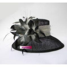 Black Ivory Linen Feather Summer Dress Derby Hats for Church Women SKU-158242