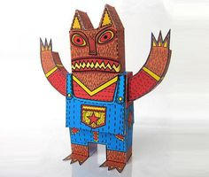 Lobo Feroz - The Werewolf Paper Toy - by Machintoy  - == -   A colorful funny paper toy of a Werewolf called Lobo Feroz, designed by designer Machintoy.