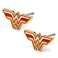 Takerlama A DC Comics Womens Wonder Woman Logo Cosplay Stud Earrings (Red & Gold Tone) Cosplay Accessories Red Earrings, Fashion Earrings, Red Jewelry, Women Jewelry, Disney Jewelry, Jewelry Accessories, Jewelry Necklaces, Dc Comics Women, Wonder Woman Logo