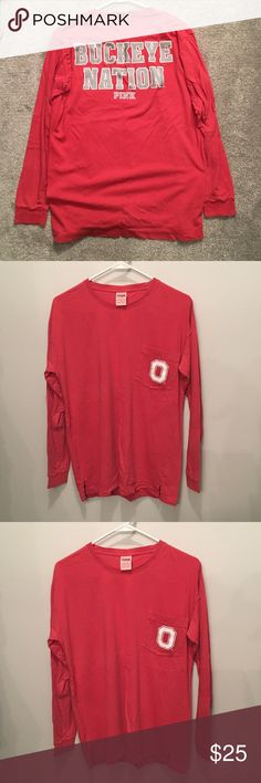 "✨PINK by V.S. OSU Tunic Tee✨ Scarlet & Gray ""Buckeye Nation"" Long Sleeve Tunic/tee from PINK by Victoria's Secret. Perfect to pair with leggings since this hangs low/oversized. Excellent condition, only worn once. Great for college students or comfy Buckeye fans.   Go Buckeyes ❤️ PINK Tops Tees - Long Sleeve"
