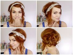 **Take the remaining ribbon and wrap it around your head, and then again half-way.  Stop at the back and tie it up.    **After the lace is secured, separate the remaining hair into 2 sections.  Using bobby pins (and pony tail holders, if needed), pin up into messy buns.  When you're done it should look something like this:
