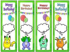 POKEMON GO! Inspired Happy Birthday Bookmarks (EDITABLE) by EasyBreezyESL Pokemon Go, Teaching Materials, Print And Cut, Esl, Bookmarks, Card Stock, Happy Birthday, Black And White, Inspired