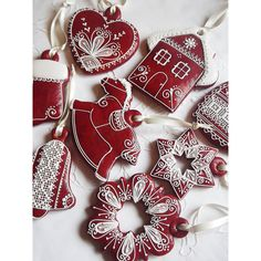 Any 6 Red Gingerbread Christmas Hanging Decoration Mix Match ($28) ❤ liked on Polyvore featuring home, home decor, holiday decorations, heart shaped christmas ornaments, xmas ornaments, christmas stockings, star ornaments and red ornaments