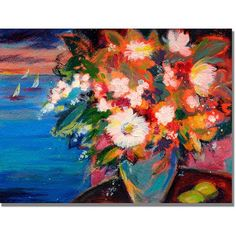 Trademark Art By the Water Canvas Wall Art by Shelia Golden, Size: 18 x 24, Multicolor