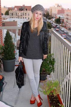 grey skinny jeans, grey sweater, black leather jacket, red pumps, grey beret