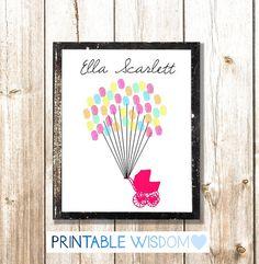 Baby Shower guest book fingerprint printable by PrintableWisdom, $8.00