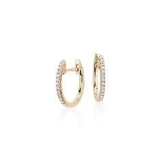 Petite Diamond Huggie Hoop Earrings in 14k Yellow Gold (1/10 ct. tw.)