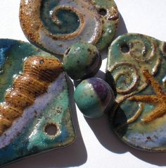 Turquoise and Purple Blue Stoneware Bead Set by Clayworksnh, $7.50