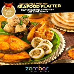 #CutTheCrab :  Craving the stuff in the sea? Get stuffed with our Seafood Platter -Stuffed Squid rings, Crab Masala, Crab Cakes, Fish Fry.  Try it at Shop no19 Ground Floor DLF Cyber hub Cyber city  Which sea food item always wins your heart?