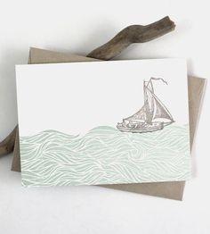 Sailboat Letterpress Note Card Set by Color Box Letterpress on Scoutmob Shoppe