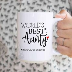 Gift For Auntie Worlds Best Coffee Mug Christmas Gifts Aunt Ideas Pregnancy Reveal MU502 Birthday
