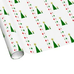 Modern Christmas tree wrapping paper in three finishes and three sizes