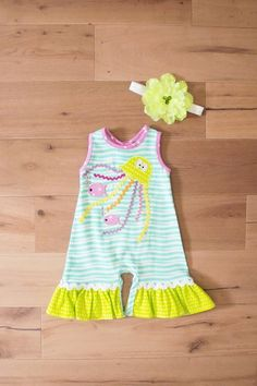 dad4a4395 Into The Deep - Jellyfish Romper w/Headband. Southern Moon Kids · Peaches n  Cream