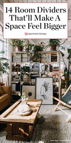 These 14 diy room dividers will make your space feel bigger.  #roomdividers #smallspaces #studio #studioapartment #apartmentdecor #apartmentideas #apartmentdecorating Small Room Divider, Living Room Divider, Diy Room Divider, Divider Ideas, Studio Apartments, Small Apartments, Studio Apt, Garage Apartments, Small Studio