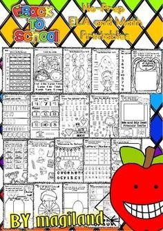 BACK TO SCHOOL - NO-PREP PRINTABLES PACKET CCSS (PRE-KINDER/1ST GRADE) - TeachersPayTeachers.com