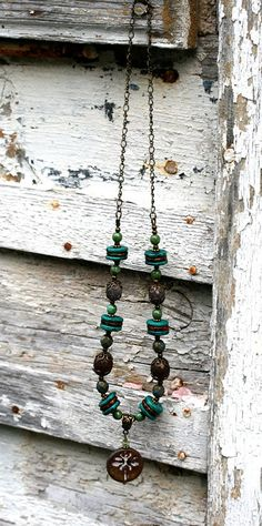 Boho Dragonfly necklace Turquoise Brown by MayaHoneyJewelry