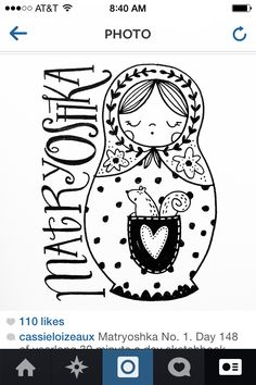 Matryoshka. Day 148 of yearlong sketchbook project. Cassie Loizeaux 2014