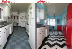 Kitchen updates are finally complete! There was a lot of painting needed to complete the look, including black and white chevron stripe floor (floor paint), turquoise walls (satin), and appliances painted red (spray paint). Lastly I added cherry café curtains to lighten up the room. It was quite a bit of work, but I did it all myself, it didn't cost much and I love the outcome!