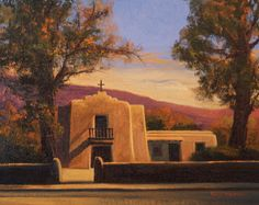 SOLD I Sangre Gold I 8x10 I Dix Baines I Fine Artist Original Oil Paintings I Southwest Churches I Southwest Paintings I www.dixbaines.com