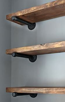Modern and rustic open wood shelves
