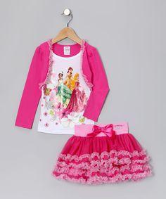 Pink & White Princess Bolero Set - Toddler & Girls