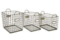 Shop IMAX Worldwide Newbridge Wire Storage Baskets (Set of at Lowe's Canada. Find our selection of storage bins & baskets at the lowest price guaranteed with price match. Wire Basket Storage, Wire Storage, Wire Baskets, Storage Room, Kitchen Storage, Storage Bins, Storage Ideas, Room Shelves, Kitchen Pantry